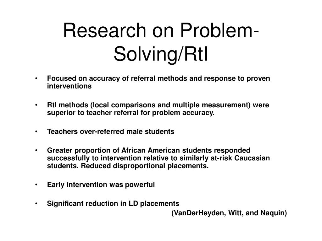 Research on Problem-Solving/RtI