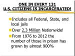 one in every 131 u s citizens is incarcerated