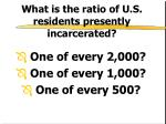 what is the ratio of u s residents presently incarcerated