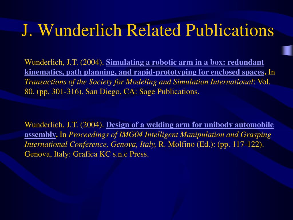 J. Wunderlich Related Publications
