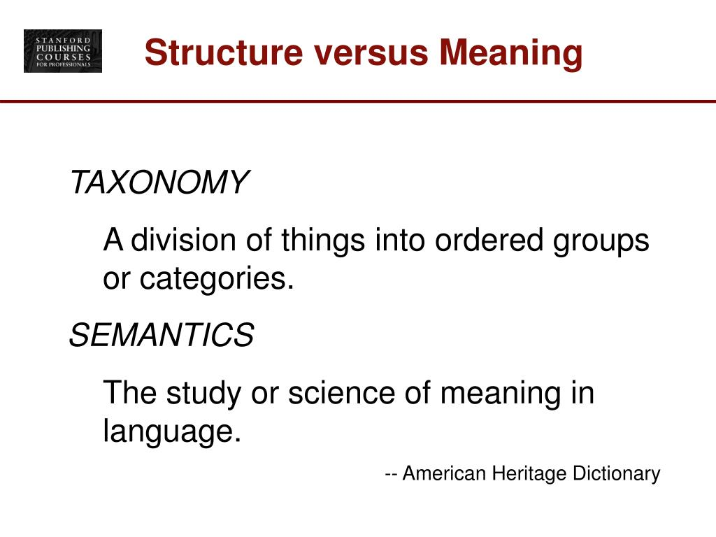 Structure versus Meaning