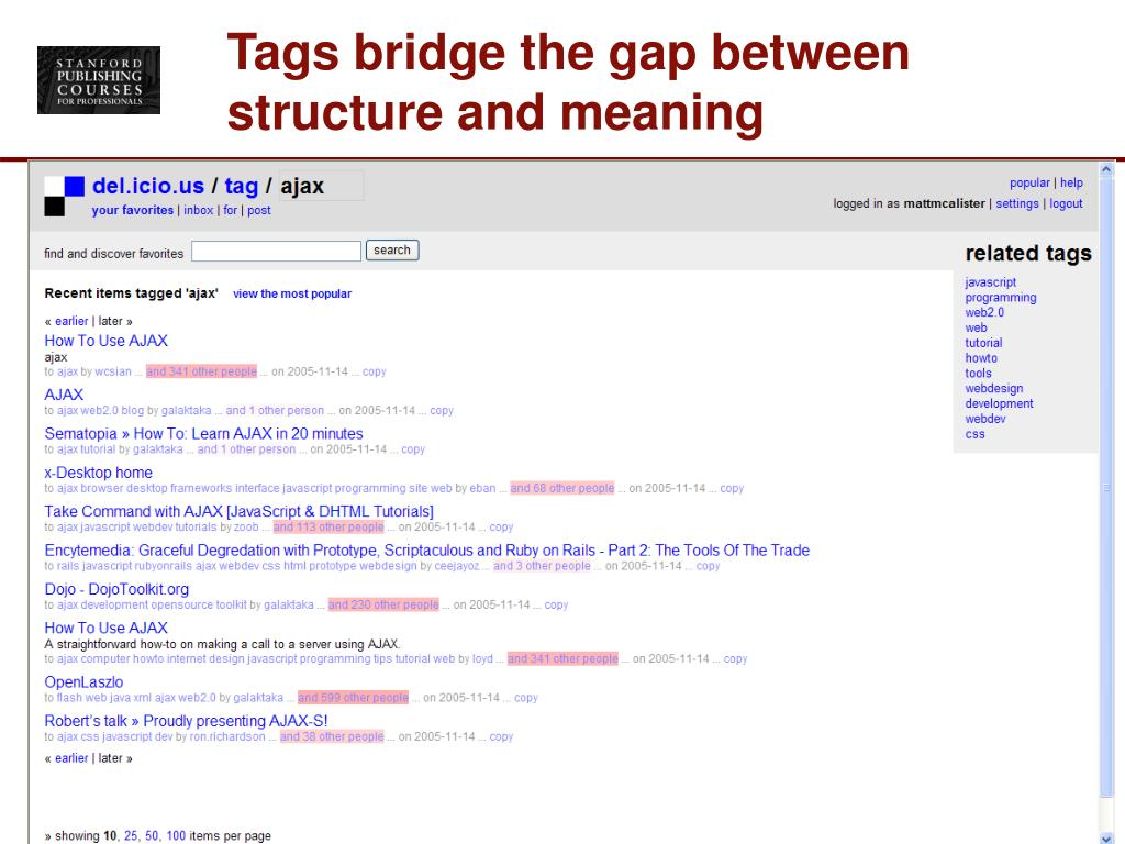 Tags bridge the gap between structure and meaning