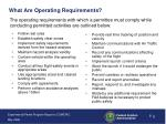 what are operating requirements