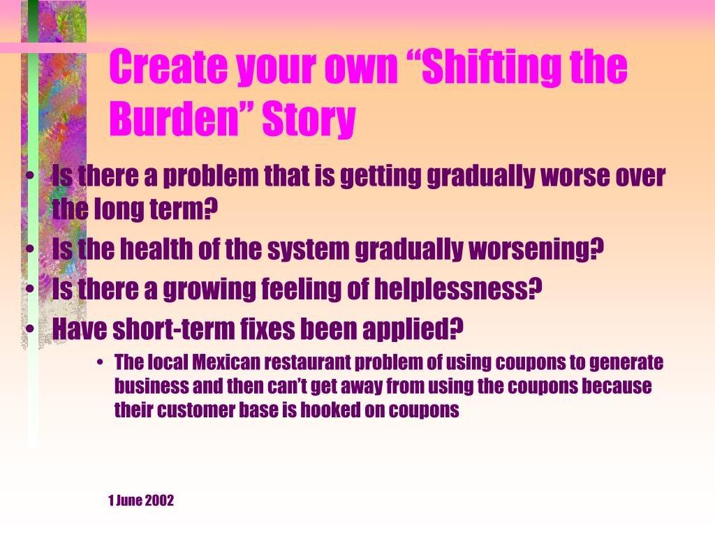 """Create your own """"Shifting the Burden"""" Story"""