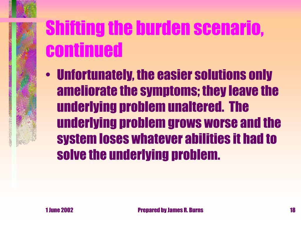 Shifting the burden scenario, continued