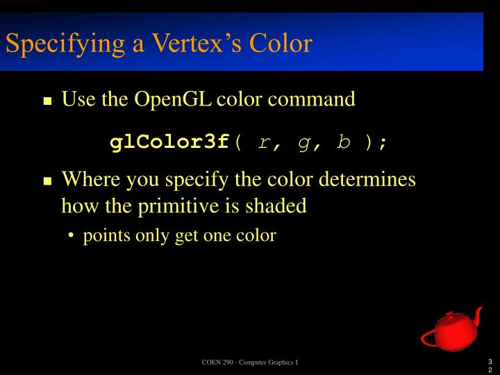 Specifying a Vertex's Color