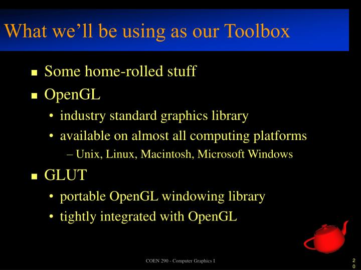 What we'll be using as our Toolbox