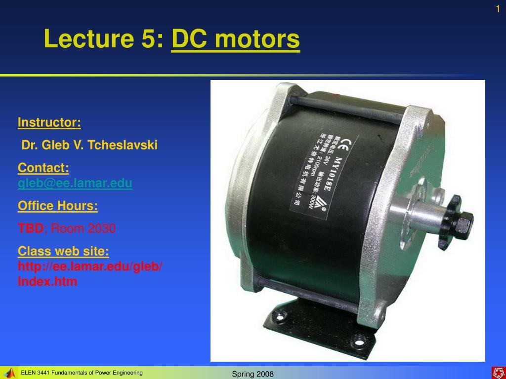 lecture 5 dc motors l.