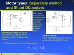 motor types separately excited and shunt dc motors