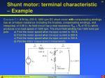 shunt motor terminal characteristic example