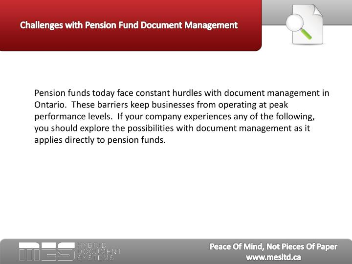 Challenges with pension fund document management