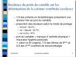 incidence du poids du cartable sur les d formations de la colonne vert brale scoliose