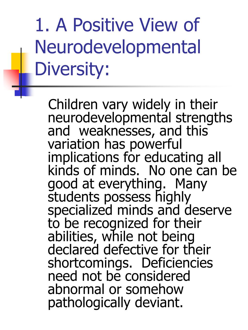 1. A Positive View of Neurodevelopmental Diversity:
