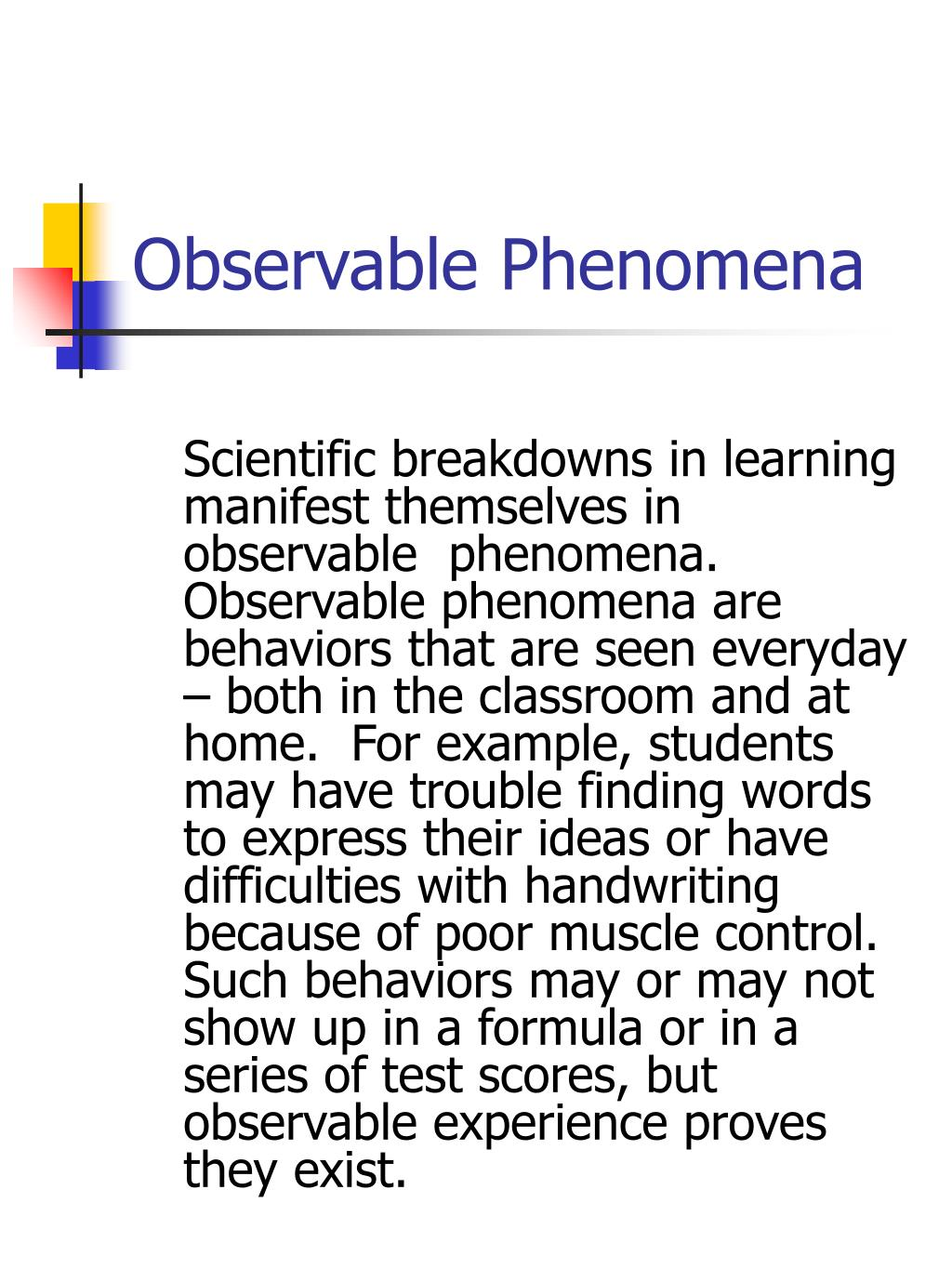 Observable Phenomena