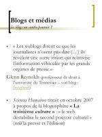 blogs et m dias les blogs un contre pouvoir