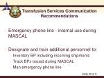 transfusion services communication recommendations