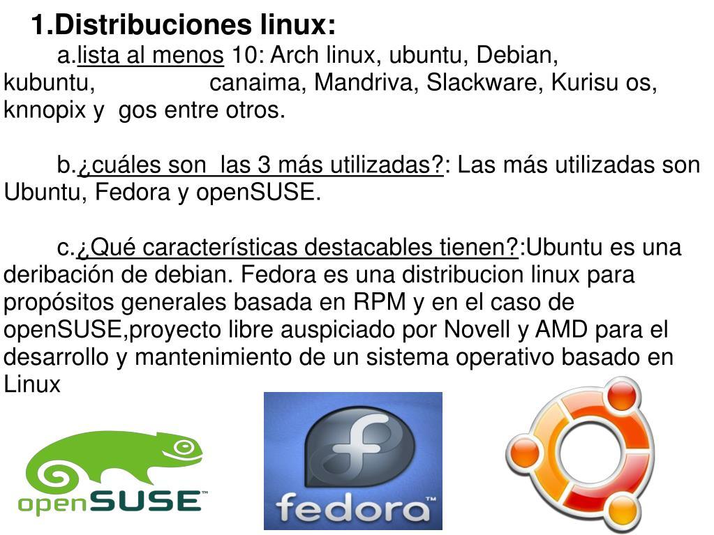 1.Distribuciones linux:
