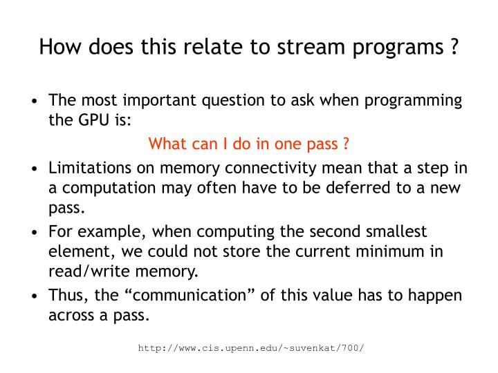 How does this relate to stream programs ?