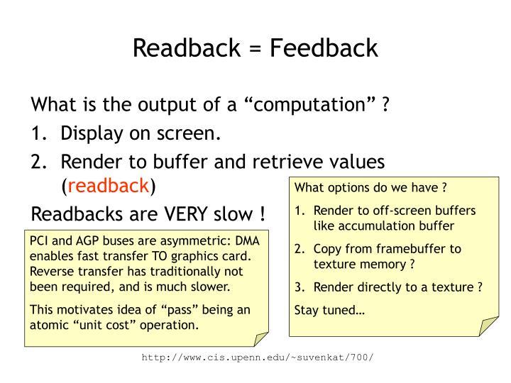 Readback = Feedback