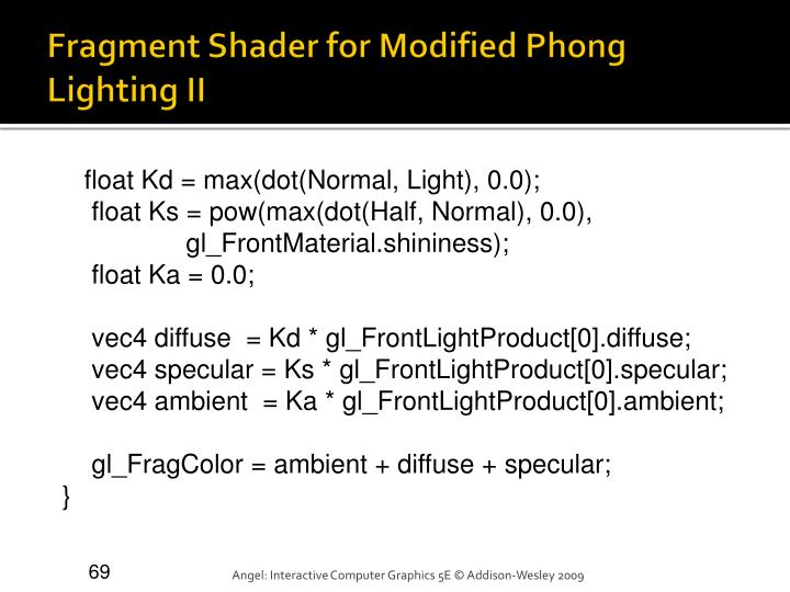 Fragment Shader for Modified Phong Lighting II