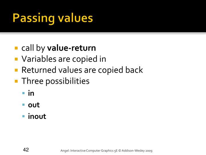 Passing values