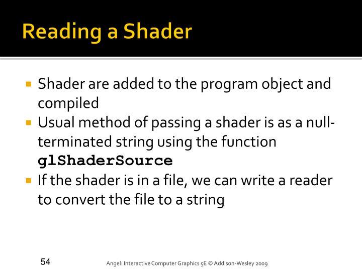 Reading a Shader