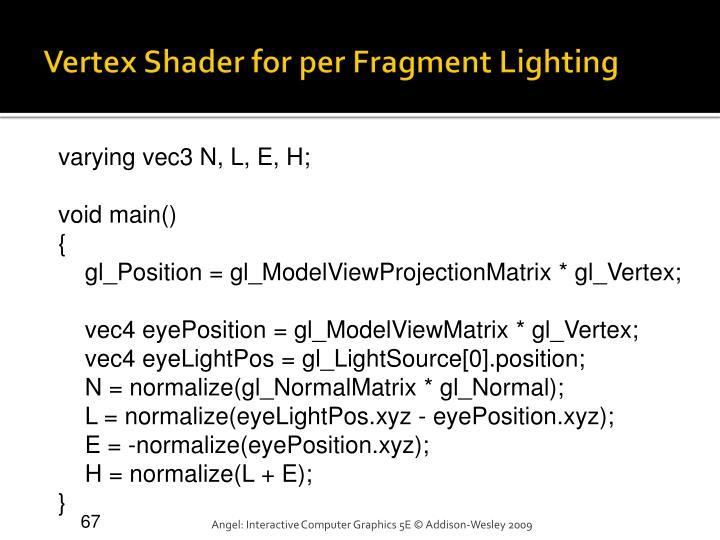 Vertex Shader for per Fragment Lighting