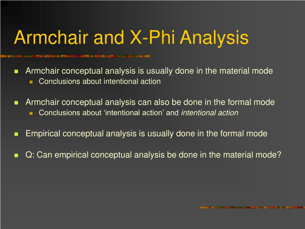 Armchair and X-Phi Analysis