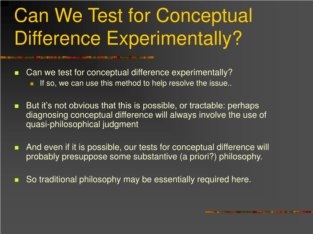 Can We Test for Conceptual Difference Experimentally?