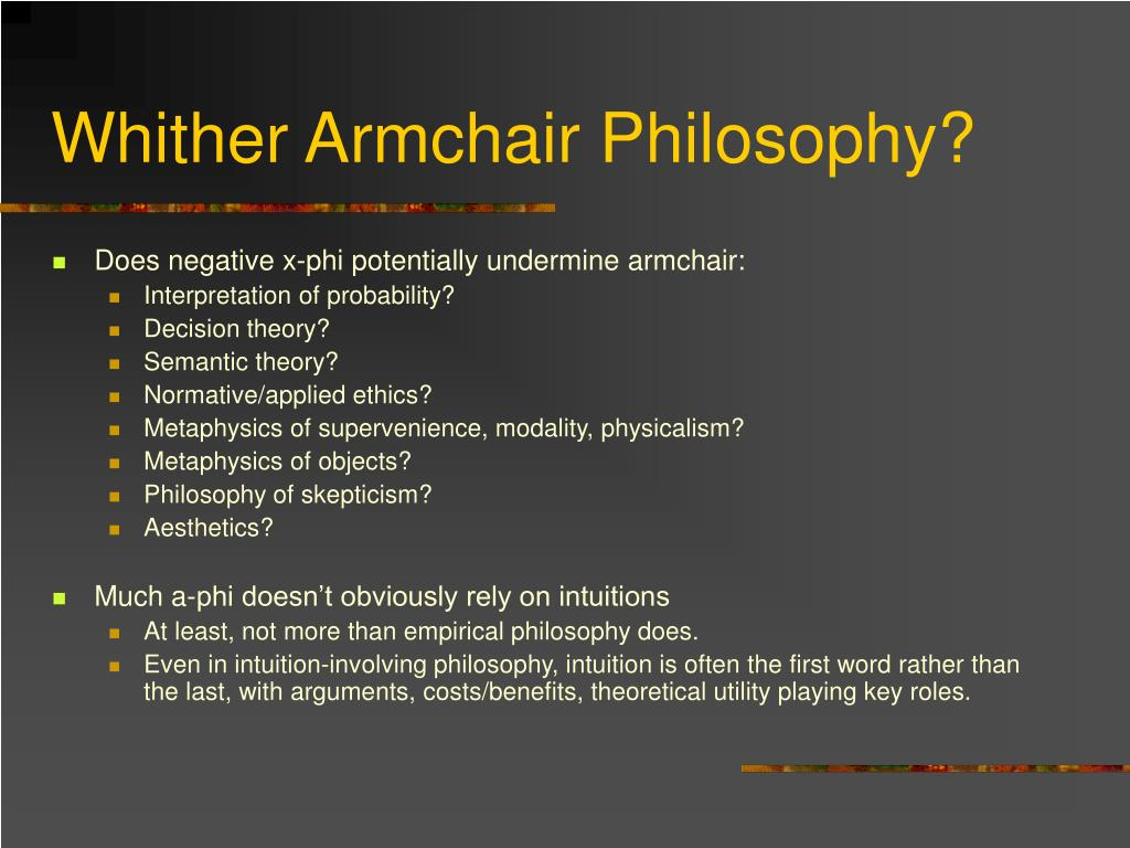 Whither Armchair Philosophy?