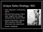 unique sales strategy imc