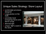unique sales strategy store layout