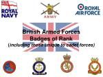 british armed forces badges of rank including those unique to cadet forces