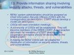 i 3 provide information sharing involving security attacks threats and vulnerabilities
