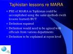 tajikistan lessons re mara