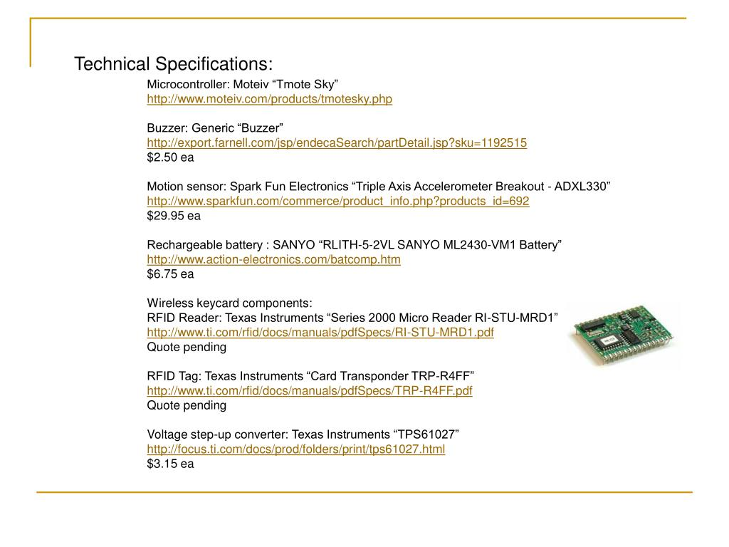 Technical Specifications: