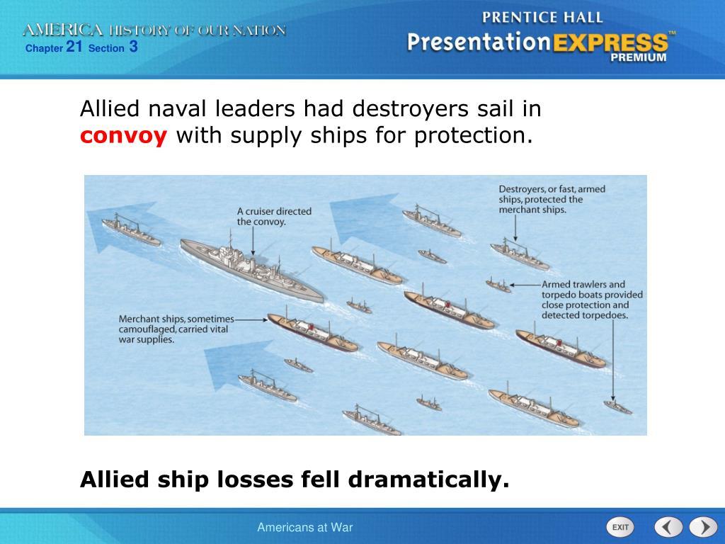 Allied naval leaders had destroyers sail in