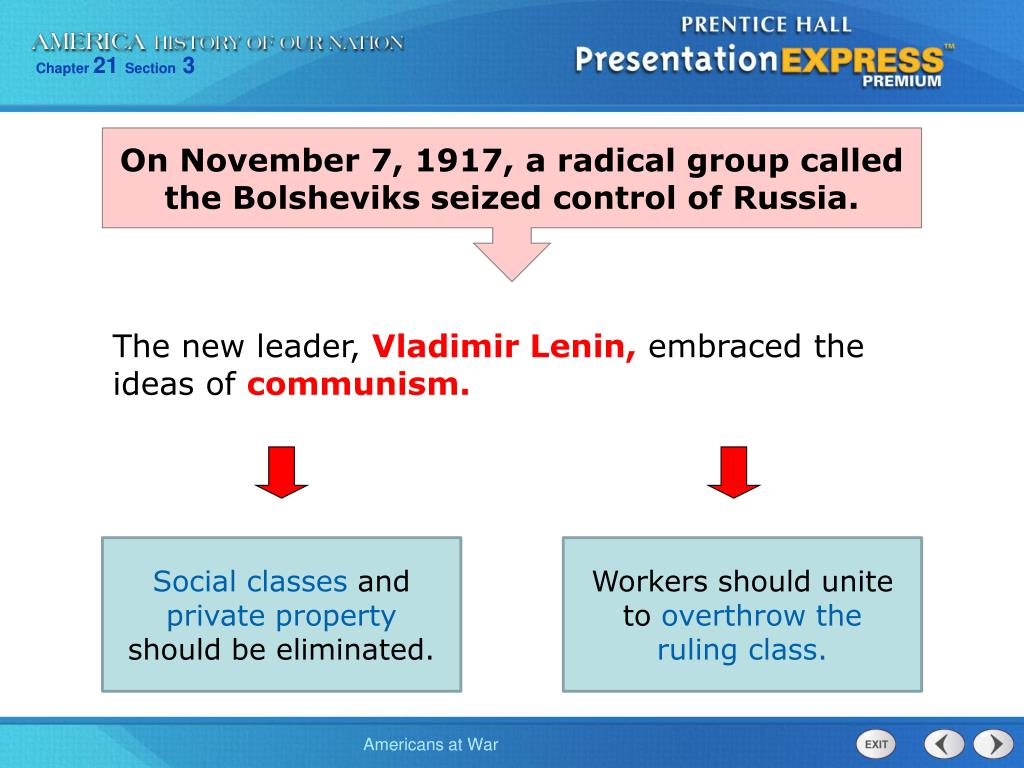 On November 7, 1917, a radical group called the Bolsheviks seized control of Russia.