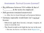 assessment tactical lessons learned
