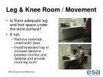 leg knee room movement