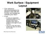 work surface equipment layout42