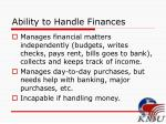 ability to handle finances