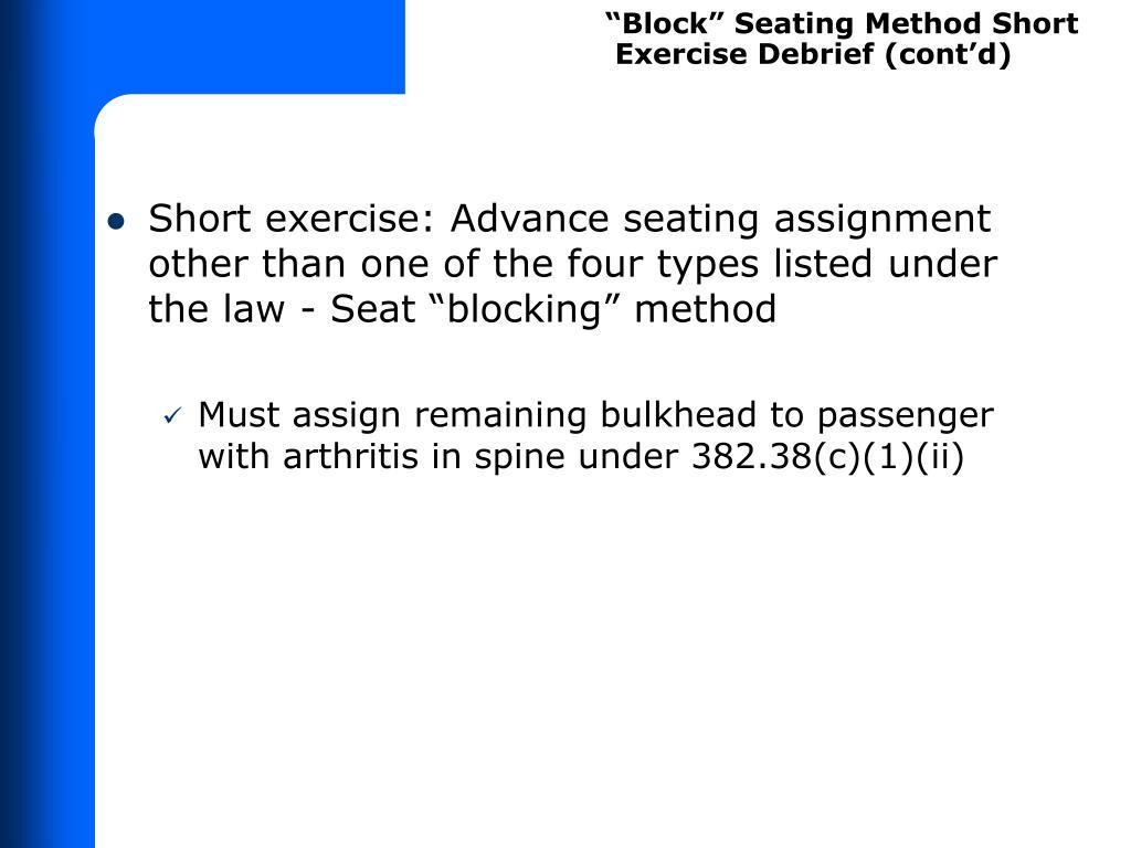 """""""Block"""" Seating Method Short"""