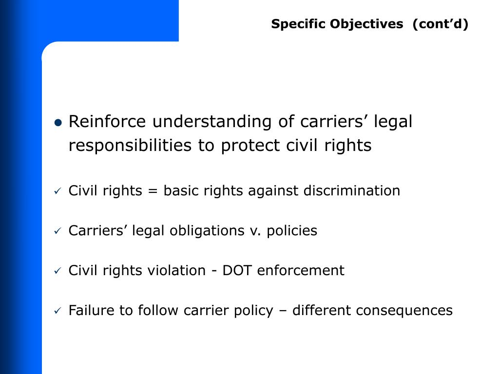 Specific Objectives  (cont'd)