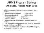 arms program savings analysis fiscal year 2005