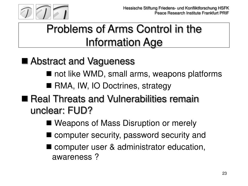 Problems of Arms Control in the Information Age