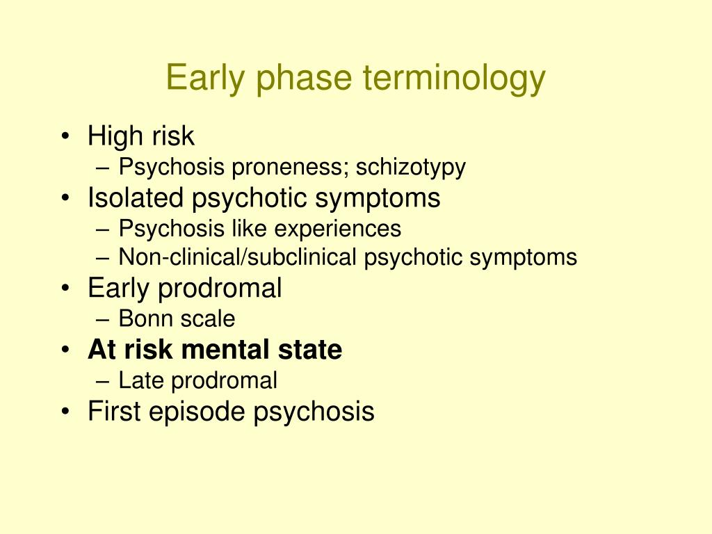 Early phase terminology