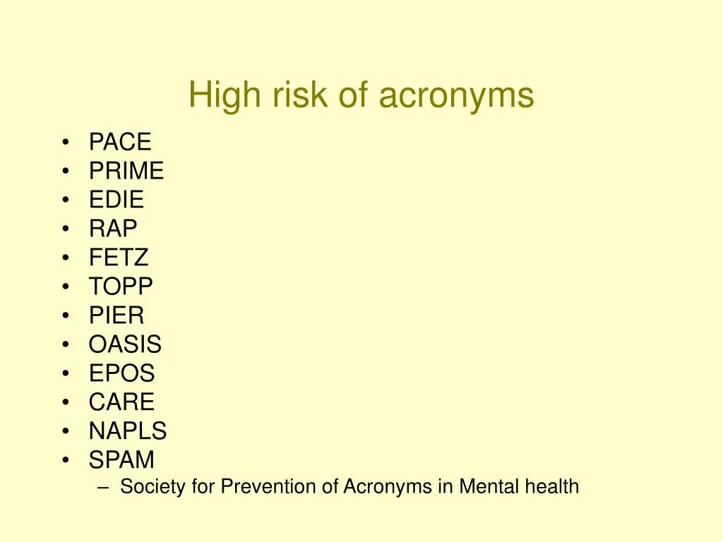 High risk of acronyms