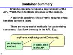 container summary