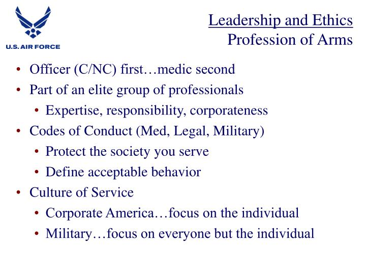 Leadership and ethics profession of arms